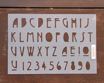 "A - Z Mid-Century Modern Font Stencil - Bullet Point Journal Stencil, fits Leuchtturm and Moleskine 5"" by 7"""