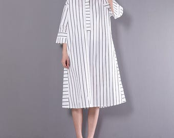 Women cotton white shirt dress striped dress spring clothing casual shirt tunic dress