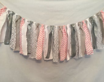 Fabric Bunting/Pink Fabric Garland/Pink Chevron Garland/Hanging Party Decor/Baby Shower Decor/Pink and Grey Garland/Fabric Tassel Garland