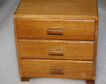 Chest of draws for doll veneer crafted wood doll's house furniture doll's furniture piece 3 draws doll's clothes furniture wood draws