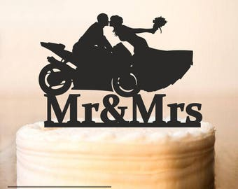 Motorcycle Couple Wedding Cake TopperMotorcycle Topperwedding Topper Bride And Groom