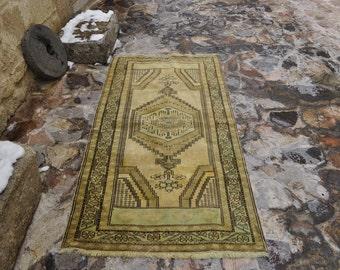 FREE SHIPPING Pale Color Wool Rug VINTAGE Turkish Rug 3.4 ft x 6.5 ft Unique Rug Naturel Colors Turkish Carpet Floor Rug Home Decor Rug