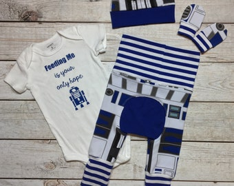 Baby boy r2d2 onesie set - Baby boy newborn going home set - 80's baby outfit- baby boy newborn set - baby boy outfit set - droid baby