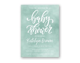 Watercolor - Baby Shower Invitation - Baby Shower Invites - Watercolor Shower Invitations - Boy Baby Shower