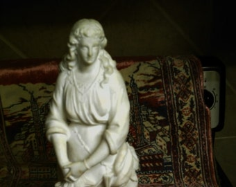 "Summer Sale Victorian Woman White Marble Statue Sculpture of  18"" Free Shipping"