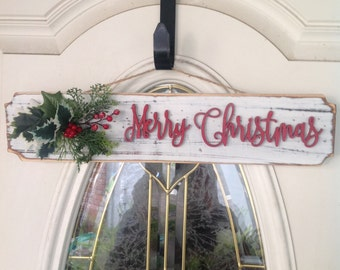Rustic White Merry Christmas Sign, Merry Christmas Sign, Embellished Merry Christmas Sign