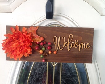 Fall Welcome Sign, Thanksgiving Welcome Sign, Wooden Welcome Sign