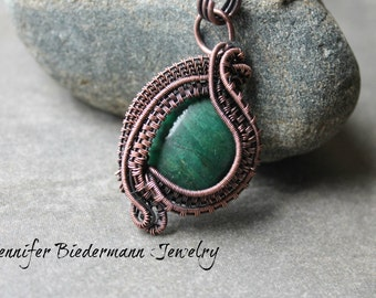 PDF Tutorial, wire weave African Jade stone pendant, wire weave pattern, pendant tutorial