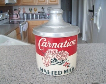 Carnation Malted Milk Soda Fountain Aluminum Canister, Vintage. 1940s