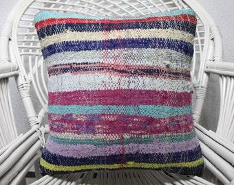 """Floor Pillow Kilim Pillow home decor 16x16Decorative Turkish Kilim Pillow 16""""x16"""" Striped Kilim Pillow Turkey kilim pillowThrow Pillow 1231"""
