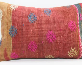 16x24 Anatolian Embroidery Kilim Pillow Turkish Kilim Pillow Throw Pillow 16x24 Vintage Kilim Pillow Home Decor 686