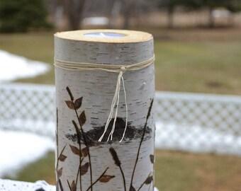Beautiful white birch log tea light candle holder