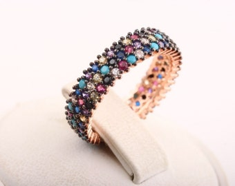Elegant ! Turkish Handmade Jewelry Multicolor 3 Line 925 Sterling Silver Ring Size 6.5