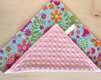 Lovey with pink minky back and ribbon loop. Security blanket. Girl lovey. Owls and flowers. Doll blanket. Baby shower gift.