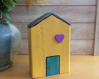 Wooden house, hand painted, yellow, eco-friendly, house warming gift, Beach house, home decor, reclaimed wood, Made in USA