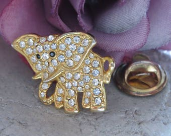 Elefant-pin lapel pin, rhinestone pin - herds brooch with elephant, rhinestone jewelry, for the animal lover, collector pin