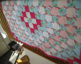 Handmade Twin Flannel Quilt Blanket