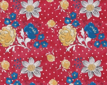 French Hen - Per Yd - Molly Hatch for Blend Fabrics - Get Your Chicken ON! Flowers on Red
