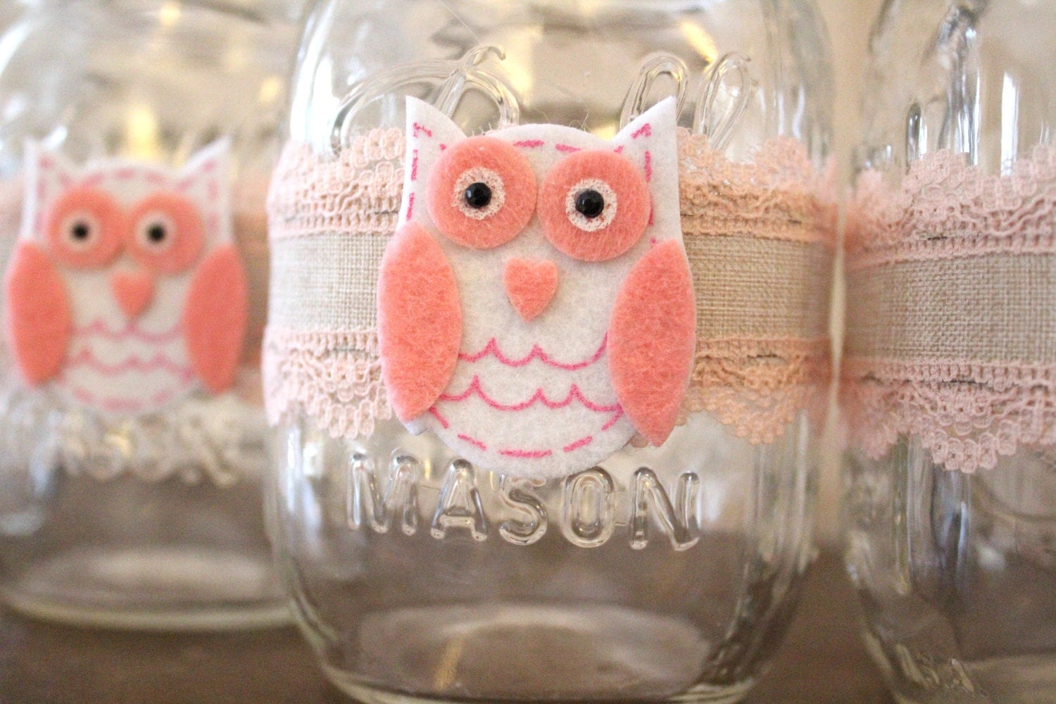 Girl baby shower owl centerpiece mason jar wraps owl themed for Baby owl decoration