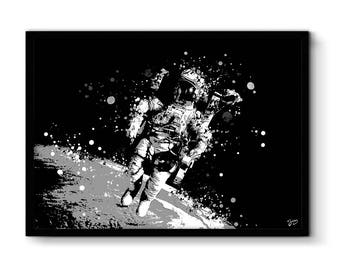 Astronaut poster illustration astronaut poster astronomy, Earth print, space art, gift idea, birthday, wedding