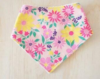 Baby Bandana Bib - Pretty Pink Bright Floral. Baby. Dribble Bib. Baby Girl. Baby Shower Gift.