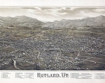 1885 Panoramic Map of Rutland Vermont
