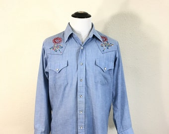 80's western chambray shirt with embroidery denim shirt size L tall