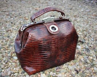 Doctor's bag reptile print