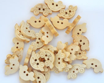 Car Buttons, Wooden Car buttons, Wooden Car Shaped buttons
