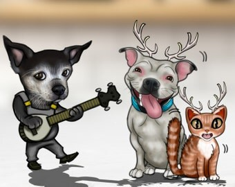 We will add a pet to your caricature.