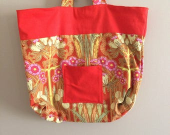 """Tote bag purse carryall in Amy Butler's """"Soul Blossoms"""" - fabulous fabric!"""