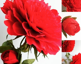 Red Peony Flower Gigant Crepe Paper Flower