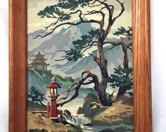 pair of vintage oriental paint by number