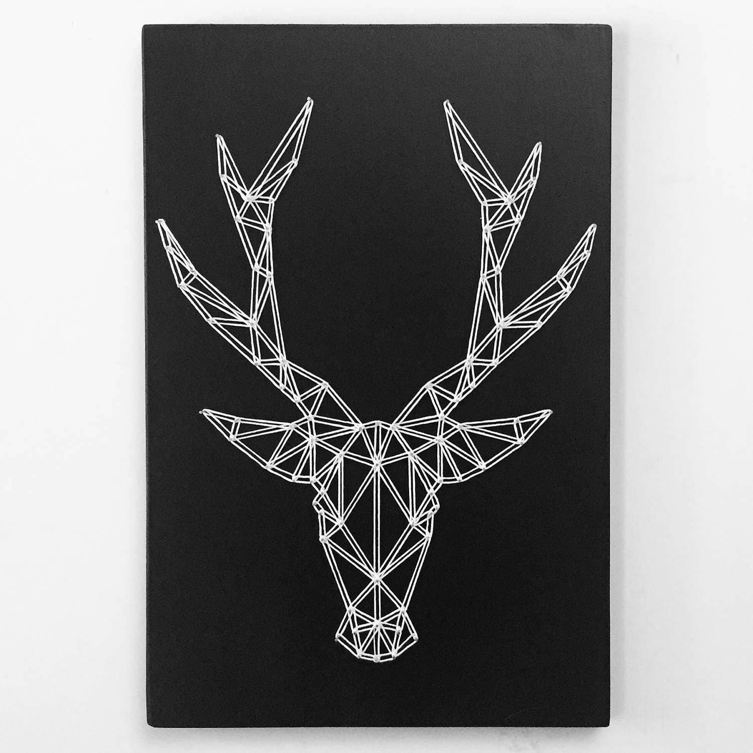 geometric deer string art deer wall art modern geometric. Black Bedroom Furniture Sets. Home Design Ideas