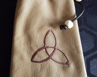 Embroidered Cream Leather Drawstring Pouch Bag - Trifecta