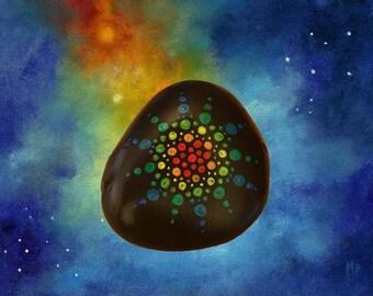 Painted Rock - Rainbow Mandala