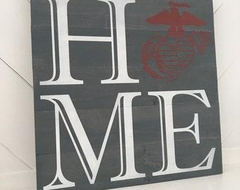 USMC Decor, Home Sign, Military Decor, Rustic Decor, Marine Corps Decor, Retirement Gift