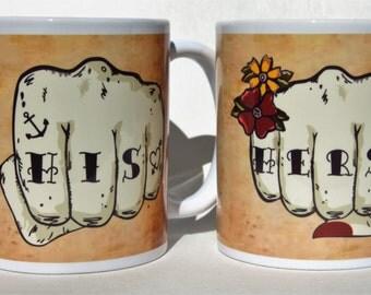 HIS & HERS mugs tattoo fist pair Tattoo Mug Lady Mr and Mrs mugs anniversaries wedding gift for bride and groom personalised mugs
