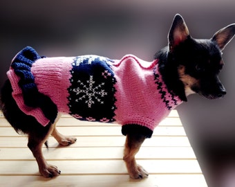 "Knitted sweater ""Snowflake""   pink & blue"