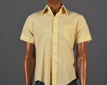 1970s Wing Collar Shirt Golden Yellow Short Sleeve