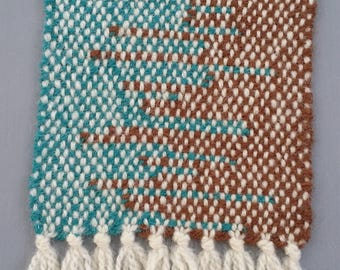 Hand woven table runner -brown and turquoise