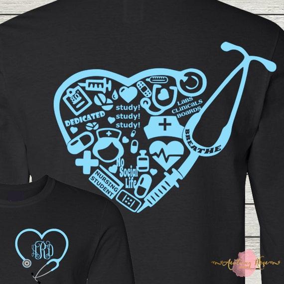 Nursing Classroom Design ~ Nursing student nurse collage rn lpn monogrammed personalized