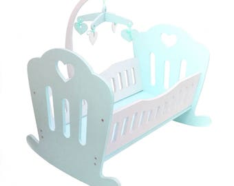 Wooden Doll Rocking Bed with Mobile (Handmade) - Turquoise