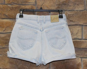 Vintage Lee Cutoff Shorts  High Waisted Jean Shorts  Women's Size 7  (Modern Day Size 3 or 5)  Light Wash  Made in USA