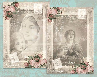 Virgin Mary - Our Lady - Shabby Chic Style ~ Vintage Style - 2 designs - Digital Collage Sheet Download - Instant Download