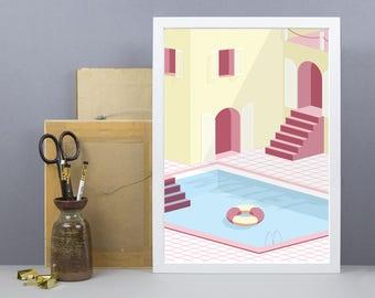 Summer Motel Pool Landscape Print