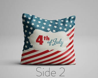 4th of July Cushion Independence Day Memorial Day Decor Patriotic Vintage Stars and Stripes Cushion American Flag Pillow USA flag Cushion
