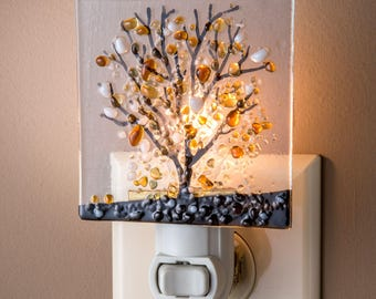 Stained Glass Night Light Decorative Nite Light Fused Glass Tree Bathroom Kitchen Bedroom Hallway Light Colorful Art Glass NTL 159-1