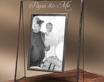 personalized glass picture frame 4x6 engraved photo frame for papa and me fathers day gift for grandpa step dad pic 319 46v ep527