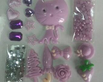 Cat Mix kids crafts  pearls flatbacks embellishments cabachon  gems stars scrap booking card making hobby craft